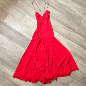 Fame & Partners Maxi Red Dress with Ruffle Split